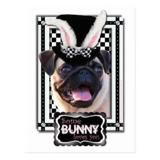 Easter - Some Bunny Loves You - Pug Postcard