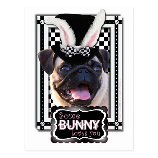 Easter - Some Bunny Loves You - Pug Postcards