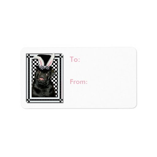 Easter - Some Bunny Loves You - Pug Ruffy Personalized Address Label