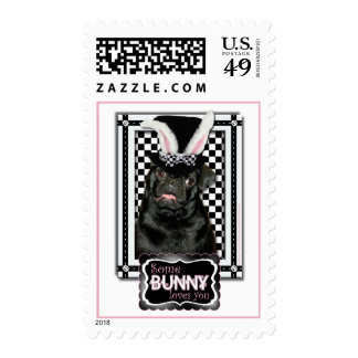 Easter - Some Bunny Loves You - Pug Ruffy Postage Stamps