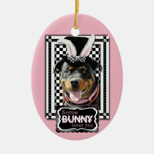 Easter - Some Bunny Loves You - Rottweiler Double-Sided Oval Ceramic Christmas Ornament