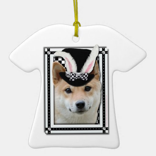 Easter - Some Bunny Loves You - Shiba Inu Double-Sided T-Shirt Ceramic Christmas Ornament