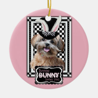 Easter - Some Bunny Loves You - ShihPoo Double-Sided Ceramic Round Christmas Ornament