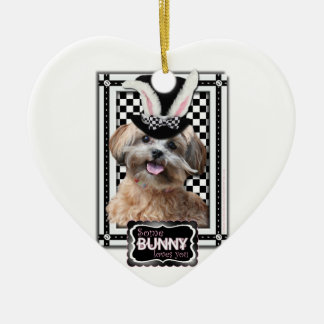 Easter - Some Bunny Loves You - ShihPoo Double-Sided Heart Ceramic Christmas Ornament