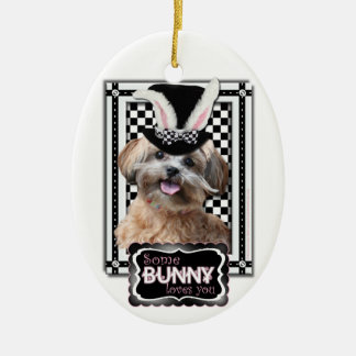 Easter - Some Bunny Loves You - ShihPoo Double-Sided Oval Ceramic Christmas Ornament