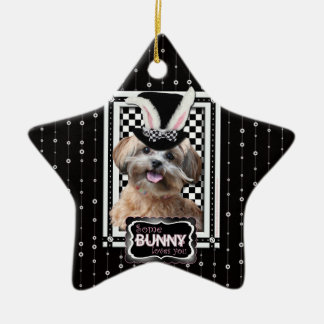 Easter - Some Bunny Loves You - ShihPoo Double-Sided Star Ceramic Christmas Ornament