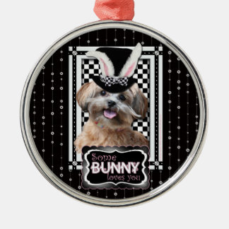 Easter - Some Bunny Loves You - ShihPoo Round Metal Christmas Ornament