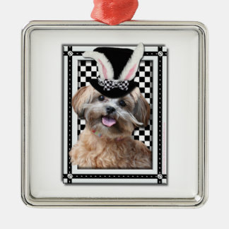 Easter - Some Bunny Loves You - ShihPoo Square Metal Christmas Ornament