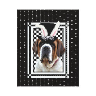 Easter - Some Bunny Loves You - St Bernard Stretched Canvas Prints