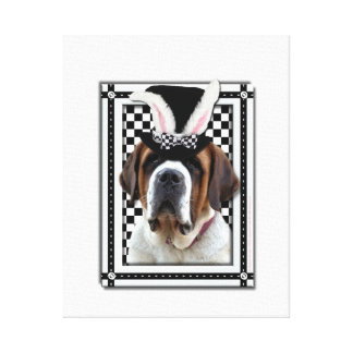 Easter - Some Bunny Loves You - St Bernard Easter Stretched Canvas Print