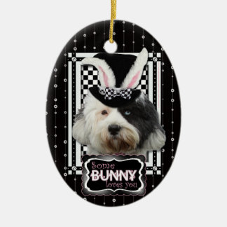 Easter - Some Bunny Loves You - Tibetan Terrier Double-Sided Oval Ceramic Christmas Ornament