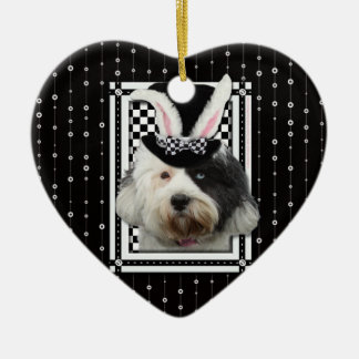 Easter - Some Bunny Loves You - Tibetan Terrier Double-Sided Heart Ceramic Christmas Ornament