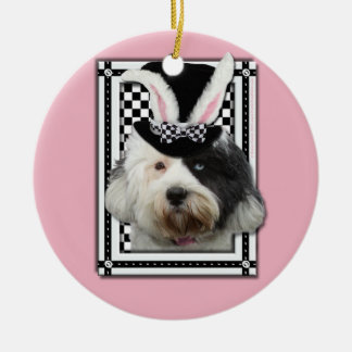 Easter - Some Bunny Loves You - Tibetan Terrier Double-Sided Ceramic Round Christmas Ornament