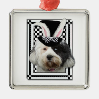 Easter - Some Bunny Loves You - Tibetan Terrier Square Metal Christmas Ornament
