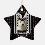 Easter - Some Bunny Loves You - Westie Double-Sided Star Ceramic Christmas Ornament