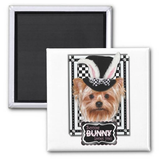 Easter - Some Bunny Loves You - Yorkie 2 Inch Square Magnet
