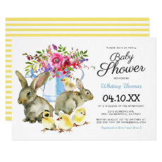 Easter Spring Bunny Floral Baby Shower