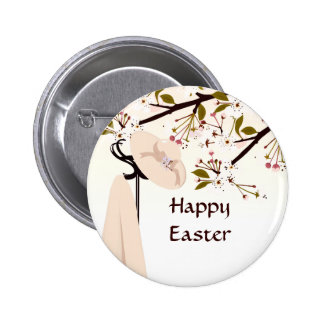 Easter Spring Cherry Blossom Bonnet Floral Button