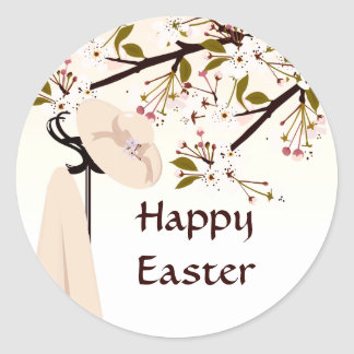 Easter Spring Cherry Blossom Bonnet Floral Large Classic Round Sticker