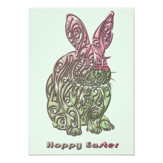 Easter Spring Pink and Green Bunny Party Card