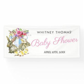 Easter Springtime Bunny Floral Baby Shower Banner