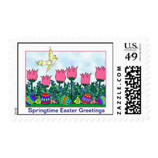 Easter springtime outdoor Scene - Postage Stamp