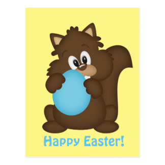Easter squirrel Holiday greeting postcard