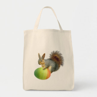 Easter Squirrel with  Rainbow Egg Bag