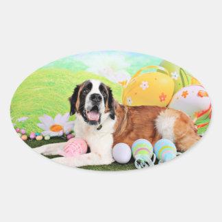 Easter - St Bernard - Ozzie Oval Sticker