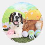 Easter - St Bernard - Ozzie Round Sticker