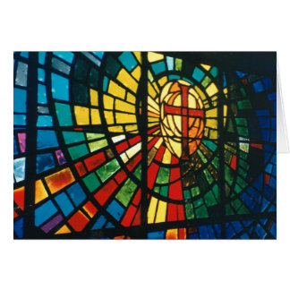 Easter Stained Glass Ressurected Cross Note Card