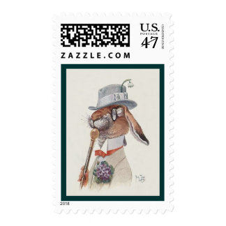 Easter Stamp  - Funny Vintage Bunny Rabbit - Cute