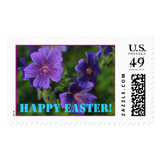 Easter Stamps with Purple Flowers