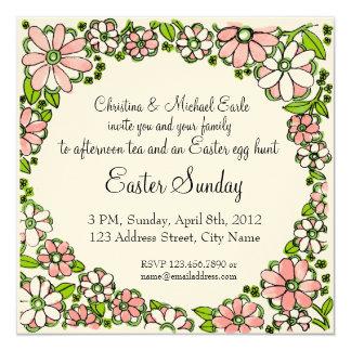 Easter Sunday Floral Border Invitation