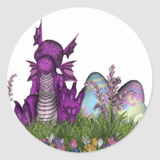 Easter Surprise Baby Dragon Classic Round Sticker