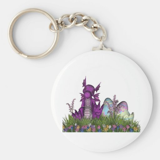 Easter Surprise Baby Dragon Basic Round Button Keychain