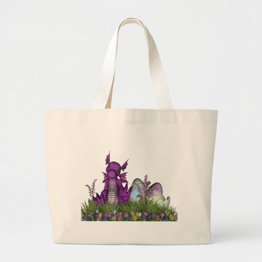 Easter Surprise Baby Dragon Large Tote Bag