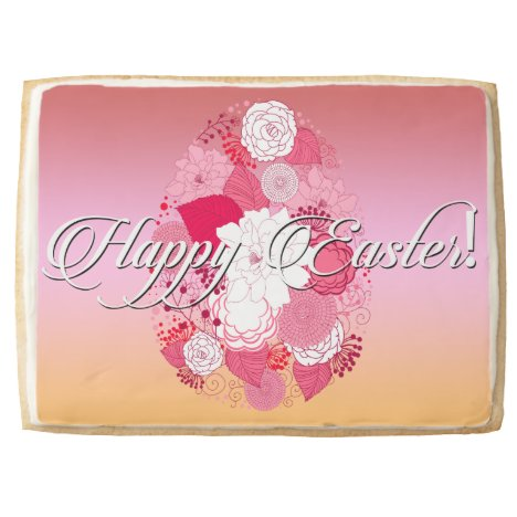 """Easter Sweets """"Happy Easter"""" Floral Egg on Multi Shortbread Cookie"""