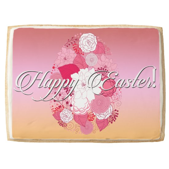 "Easter Sweets ""Happy Easter"" Floral Egg on Multi Shortbread Cookie"