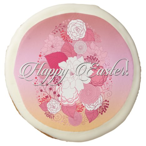"""Easter Sweets """"Happy Easter"""" Floral Egg on Multi Sugar Cookie"""