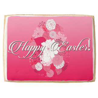 "Easter Sweets ""Happy Easter"" Floral Egg on Pink Jumbo Shortbread Cookie"