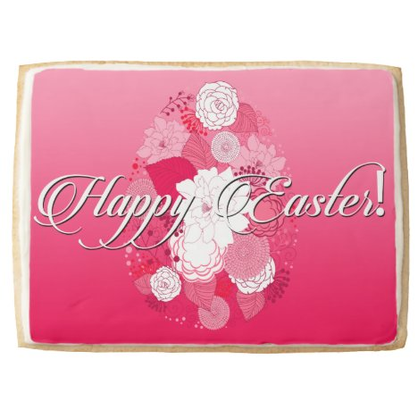 """Easter Sweets """"Happy Easter"""" Floral Egg on Pink Jumbo Shortbread Cookie"""