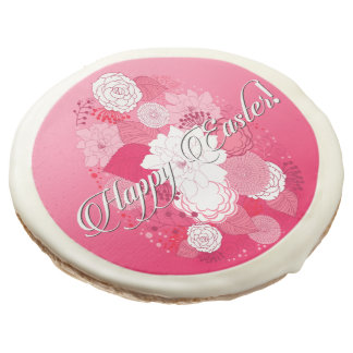 "Easter Sweets ""Happy Easter"" Floral Egg on Pink Sugar Cookie"