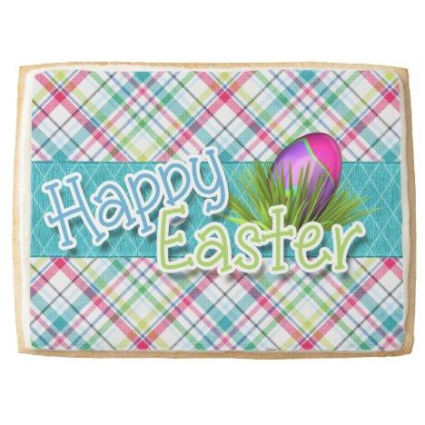 "Easter Sweets - ""Happy Easter"" Stripe Pattern Jumbo Shortbread Cookie"