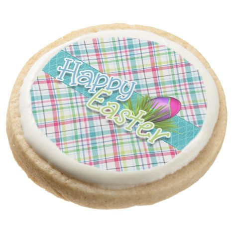 """Easter Sweets - """"Happy Easter"""" Stripe Pattern Round Shortbread Cookie"""