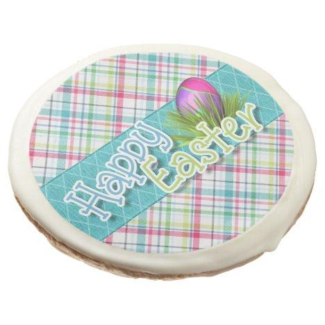 "Easter Sweets - ""Happy Easter"" Stripe Pattern Sugar Cookie"