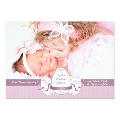 Easter Three Pink Photo Birth Announcement