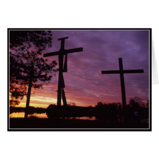 Easter - Three Wooden Crosses Greeting Card