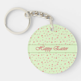 Easter Tiny Hearts on Mint Color Keychain
