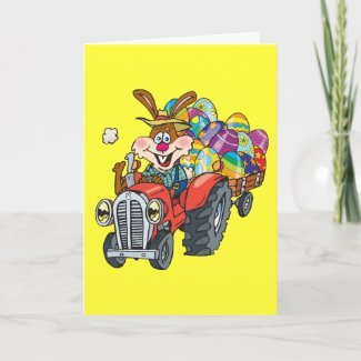 Easter tractor bunny card